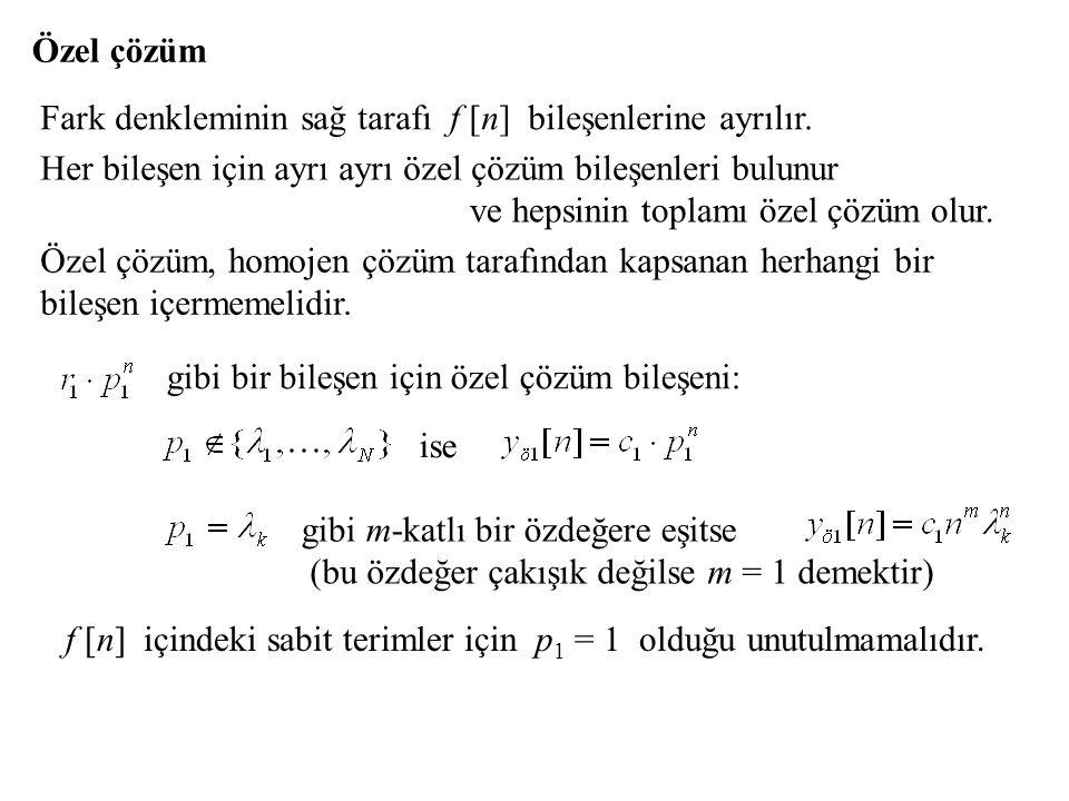 Özel çözüm Fark denkleminin sağ tarafı f [n] bileşenlerine ayrılır. Her bileşen için ayrı ayrı özel çözüm bileşenleri bulunur.